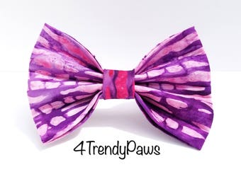 Pink and Purple Batik Bow, Pink Bow, Purple Bow, Girl Dog Bow, Small Dog Bow, Big Dog Bow, Dog Bow Tie