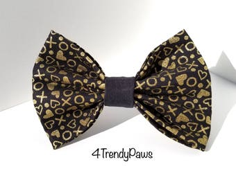 Gold X's O's Love Bow, Love Bow, Valentine's Day Bow, Girl Dog Bow, Boy Dog Bowtie, Small Dog Bow, Big Dog Bow, Bowtie, Gold Bow, Hearts Bow