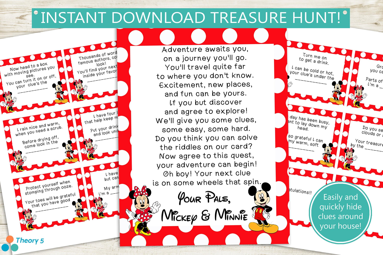 Printable Disney Treasure Hunt Clues Instant Download - Disney surprise letter template