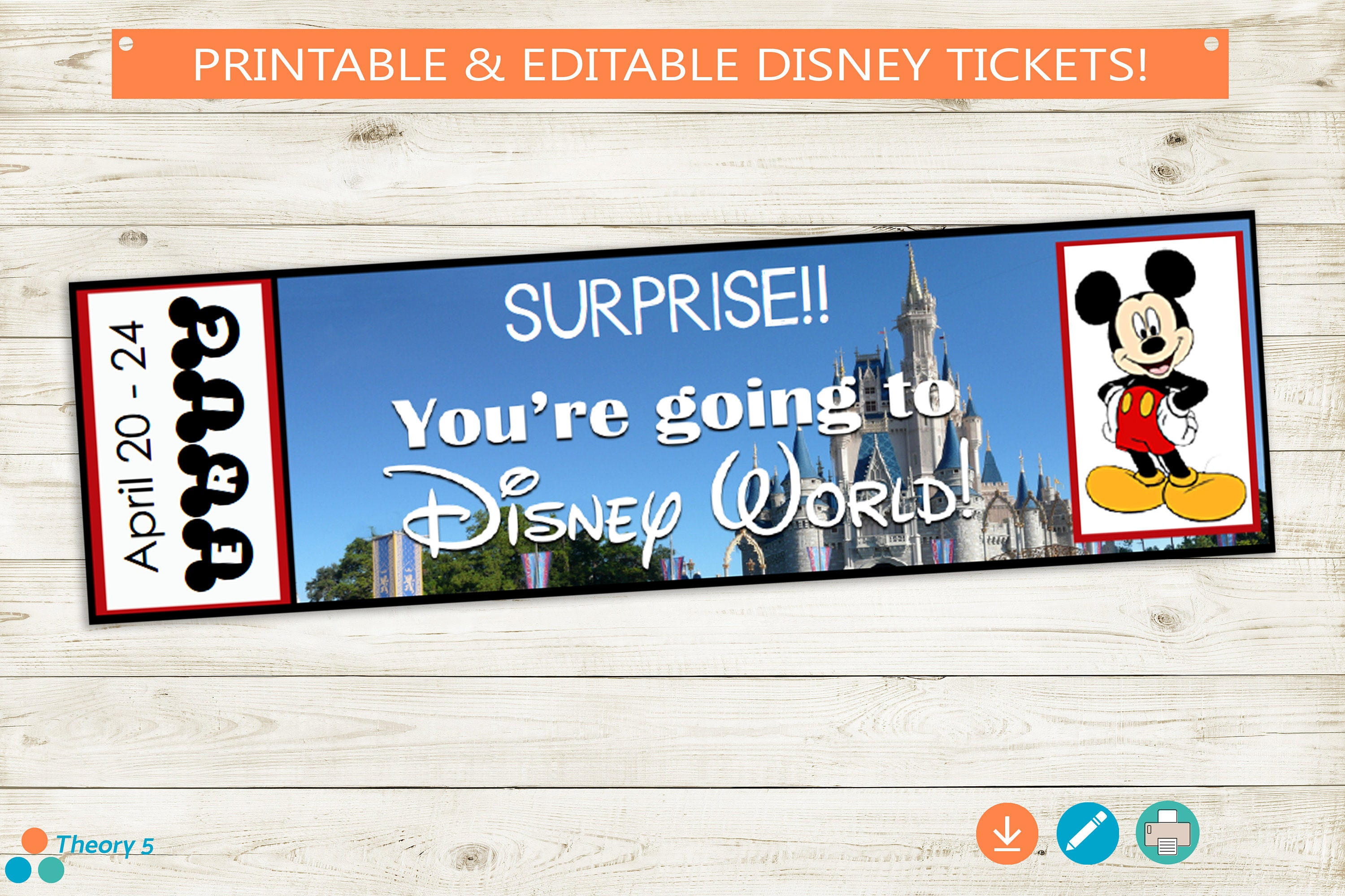 This is a graphic of Satisfactory Printable Disney Tickets