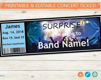 SURPRISE Concert Tickets Printable // Adobe Reader Editable PDF // DIY, Instant Download, custom names, printable surprise, template, gift