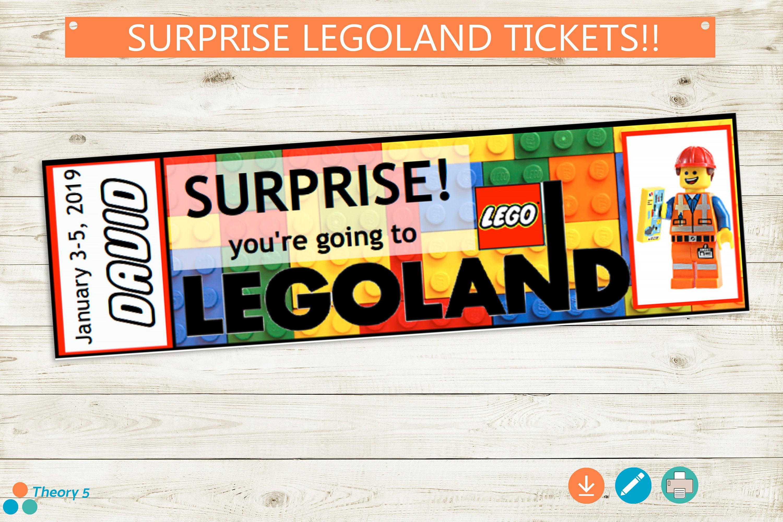 Printable LEGOLAND Ticket // Adobe Reader Editable PDF