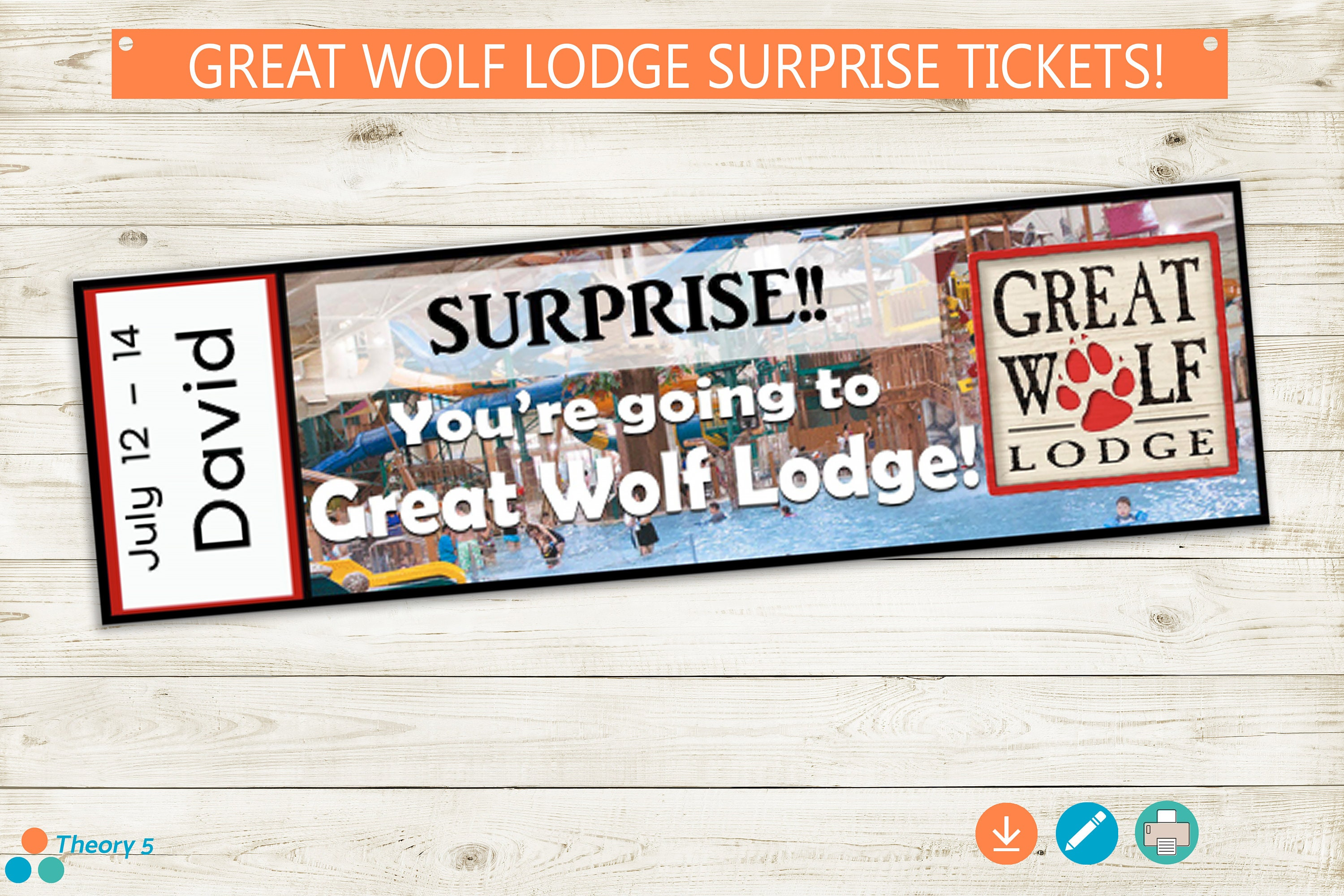 Printable Ticket To Great Wolf Lodge Instant Download Etsy