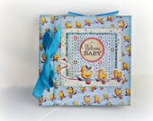 Premade boy mini album, Scrapbooking photo album, Welcome Baby boy album, Blue book, Baby shower party, Memory photo album, Ready to ship