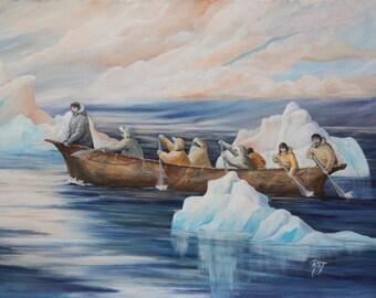 Alaskan Native paintings, yupik art, inupiat painting, native american paintings, Ice berg paintings, indigenous art, rowers
