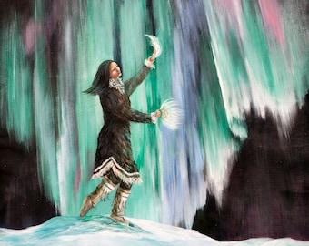 Northern lights, Aurora Borealis,  Alaska, Alaska Native dancers, Alaskan Dance, Yupik Dance, Inupiaq dance, Snow paintings, Indigenous art