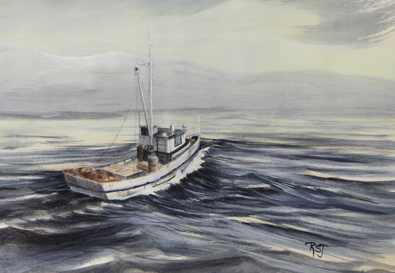 vintage wooden boat heading back to port watercolor image 0