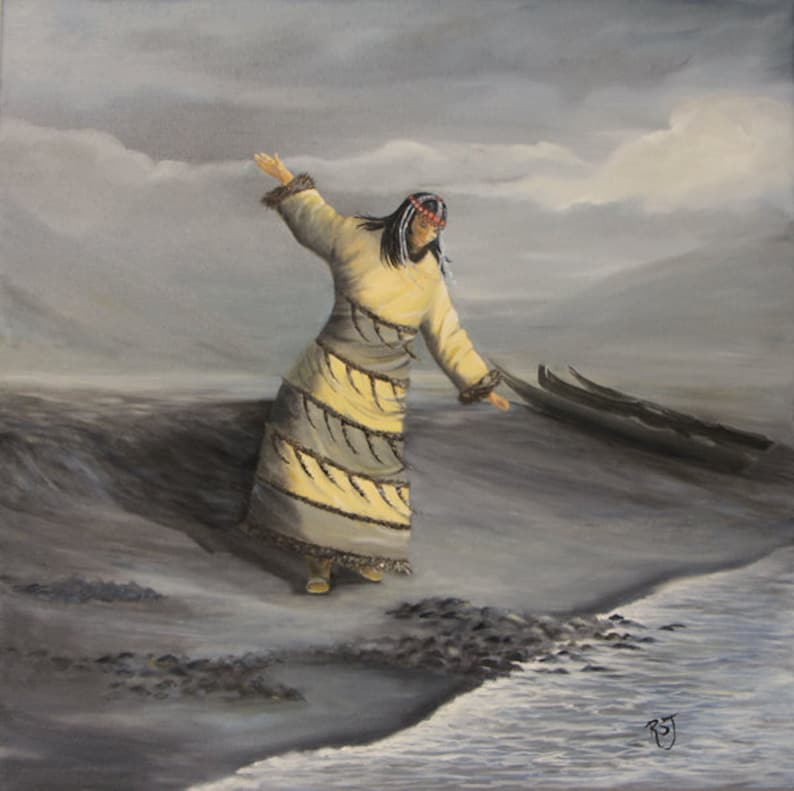 Painting of an Aleut dancer native american wall art native image 0
