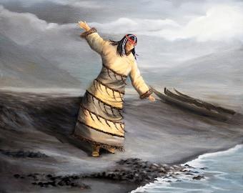 Painting of an Aleut dancer, native american art, Alutiiq dancers, Alaska Native dancer, alaska native  made, Alaska art, Indigenous art,