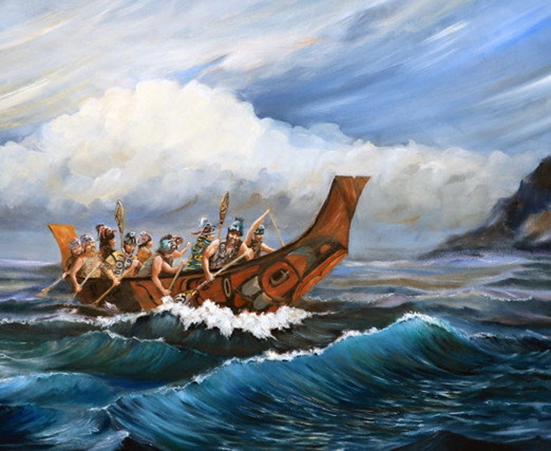 Haida War Canoe Native American art prints Alaska native image 0
