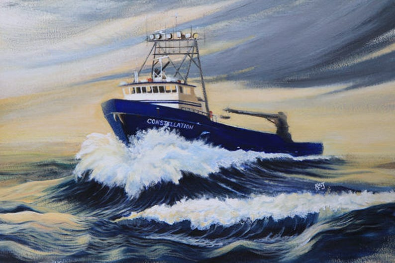Seascapes paintings crab boat prints crab boat paintings image 0
