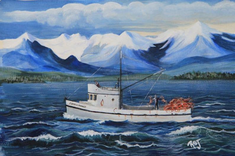 deadliest catchboat paintings Boat Prints Coastal prints image 0