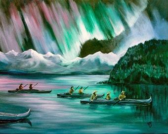 Northern lights, Aurora Borealis, Alaska Native art, Alutiiq art,  Aleut art, Unangan art, Baidarka,  Kayak, Indigenous art, First Alaskans