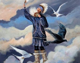 Painting of an Native dancer, native american art, Alaska Native Dancer,Indigenous art, alaska native wall art, Alaska art,Yupik, Inupiaq