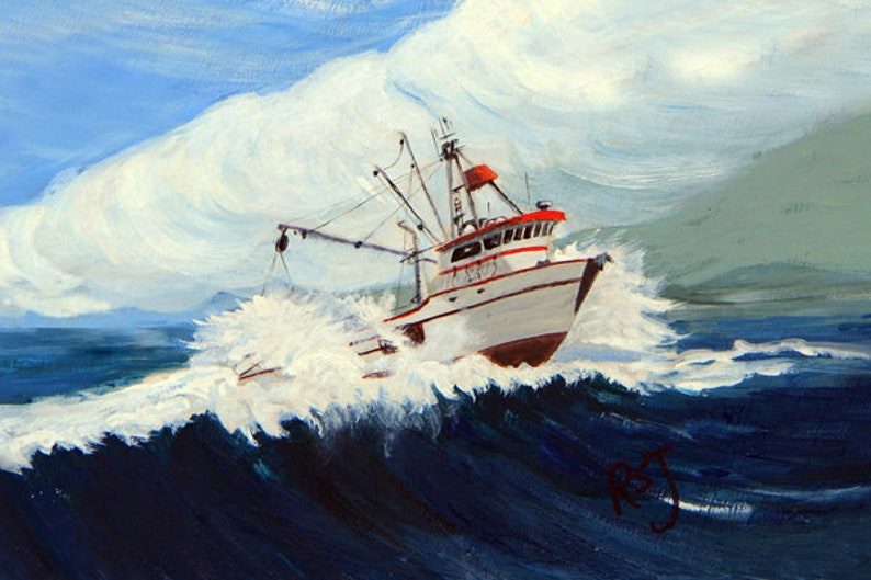 seascape paintings salmon seiners paintings of salmon image 0