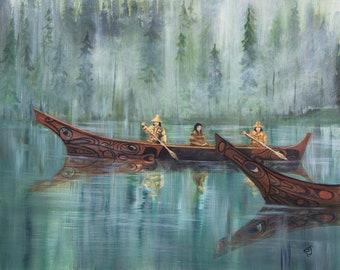 Haida War Canoe, Native American art prints, Alaska native art, Pacific Northwest Indian art, Tlingit art, Haida art prints, Coast Salish