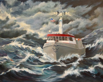 crab boat prints, fishing boat prints, deadliest catch, boats, Dungeness boats, crab fishing, waves, storms,  Marine art, boat paintings