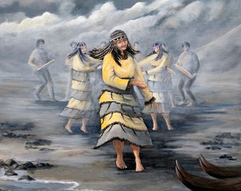 Painting of an Aleut dancer, native american art, Alutiiq dancers, Alaska Native dancer, alaska native prints, Unangan art, Indigenous art,