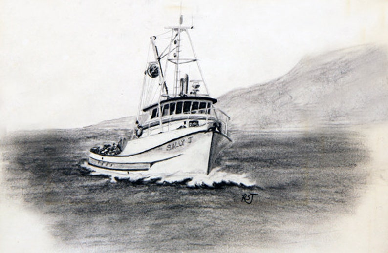 Sally J Delta Seiners black and white paintings boat image 0