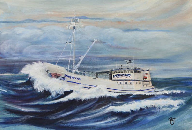 Crab boat paintings wave paintings deadliest catch art image 0