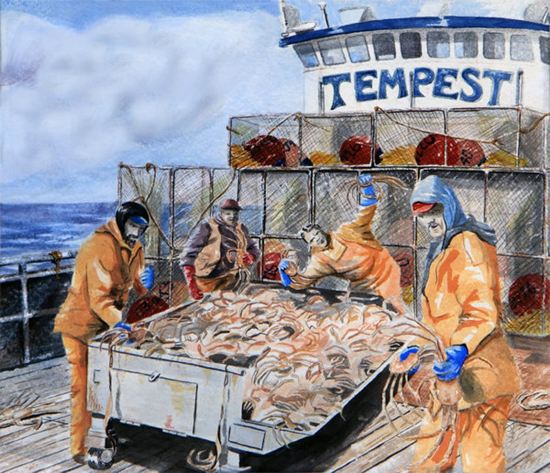 A crab crew sorting Opi's deadliest catch crab pot image 0