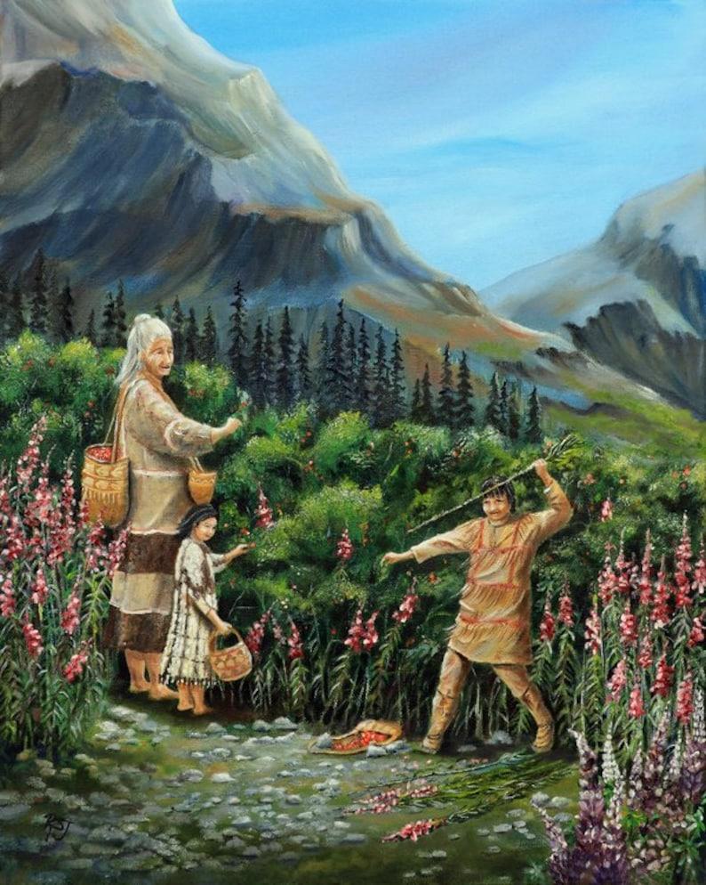 Salmon Berry Summer: Native American art prints Alaska image 0