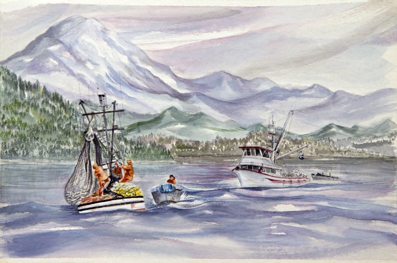 boat paintings watercolor paintings  salmon boat paintings image 0
