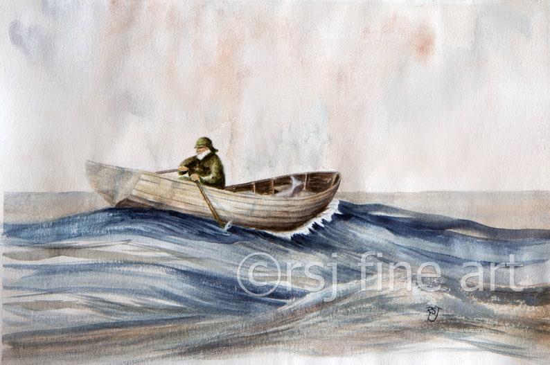 vintage wooden boat paintings watercolor paintings row boat image 0