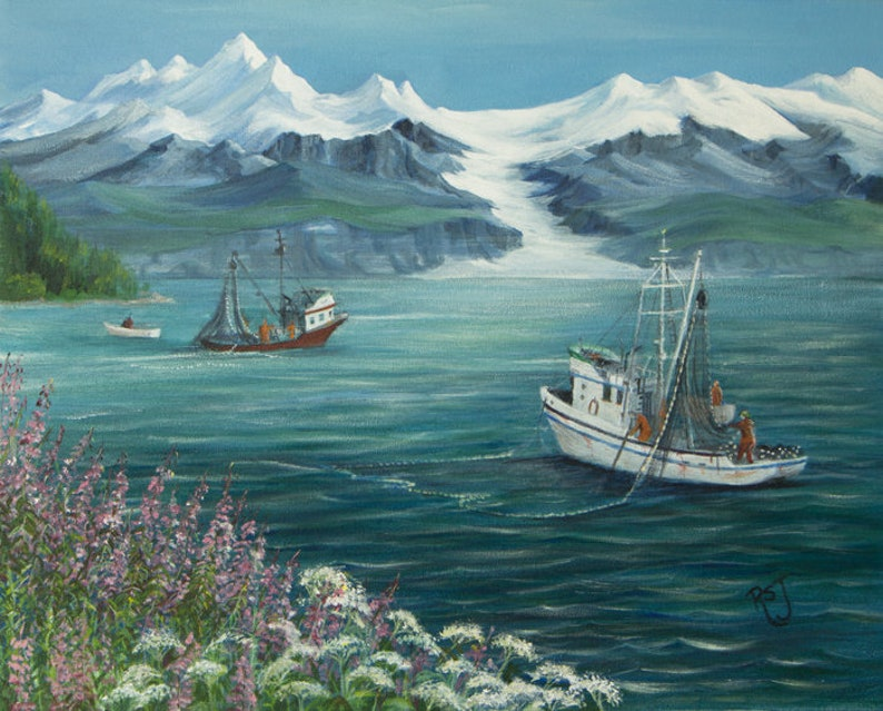 Salmon boats working at Port Wells fishing boat prints boat image 0