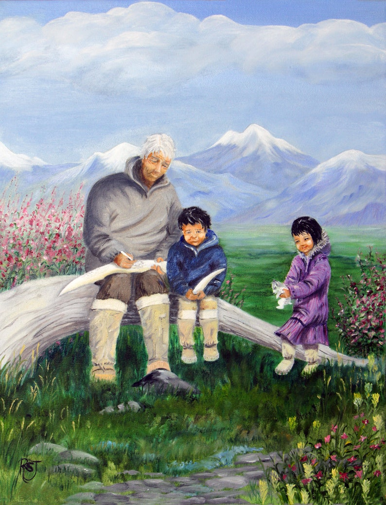 Alaska Native Grandpa with grand kids Native American art image 0