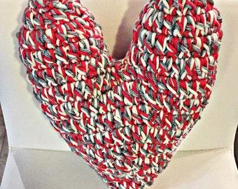 handcrafted crochet heart shaped pillow