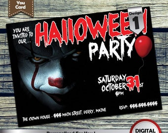 It! Halloween Party Invitation customized printable invite for your theme Party + Free Thank You Card