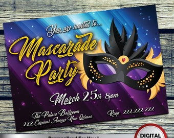 Mascarade Party Invitation Personalized Printable Invite for your theme party