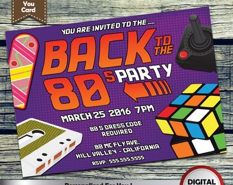 Back to the 80's Party Invitation Personalized Printable Invite for your theme party + Free Thank You Card!