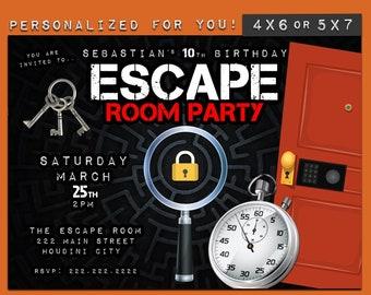 Escape Room invitation, Escape Room Party, personalized Escape Room theme party invitation, custom printables invitations for your party