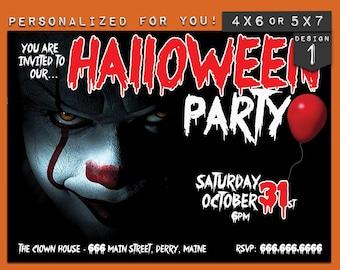 Halloween invitation, personalized printable Halloween It! movie theme party invitation, custom printables invitations for your theme party