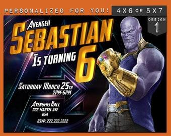Thanos Invitation, Marvel Avengers Thanos Infinity war birthday card invitation personalized printables kids invitations