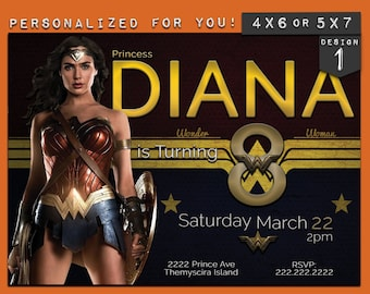Wonder Woman invitation, Wonder Woman birthday Invitation, Wonder Woman birthday party invite, superhero birthday party invitation