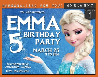 Frozen invitation, personalized printable Disney Frozen birthday invitation, custom printables invitations for kids birthday party