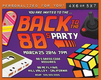 80's party invitation, personalized printable 80's theme party invitation, custom printables invitations for your theme party