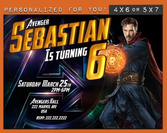 Doctor Strange Marvel Avengers Infinity war birthday invitation personalized printable invite theme party + free thank you card customized