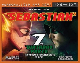 The Flash/ Green Arrow invitation, personalized printable Superhero birthday invitation, custom printables invitations kids birthday party