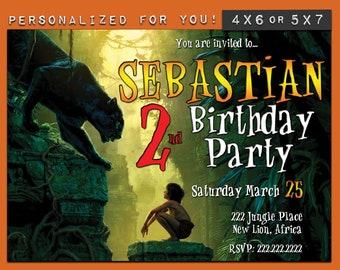 Jungle Book invitation, custom printable The Jungle Book birthday invitation, personalized printables invitations for kids  birthday party