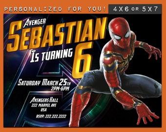 SpiderMan invitation, Spiderman birthday invitation, Spideman Infinity War invite, Endgame invitation, Superhero invitations for kids party