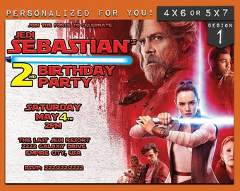 Last Jedi invitation, custom printable Star Wars Last Jedi birthday invitation, personalized printables invitations for kids birthday party