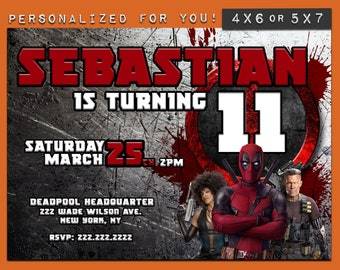 Deadpool Invitation, custom printable Deadpool Birthday invitation, personalized printables invitations for kids Superhero birthday party