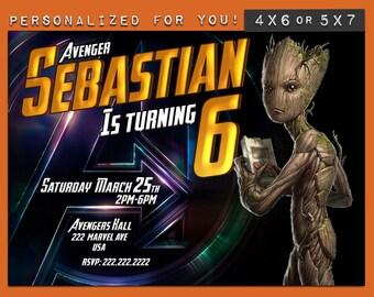 Groot Invitation, Groot birthday Invitation, Marvel Avengers Infinity war, personalized invitation & printables kids invitation