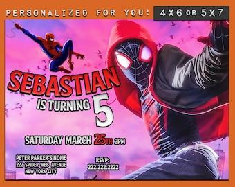 Spiderman invitation, Spiderman into the spideverse birthday invitation, personalized printable Spiderman birthday invitation for kids party
