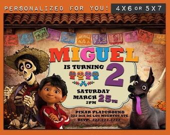 Coco invitation, personalized printable Disney Movie Coco birthday invitation, custom printables invitations for kids birthday party