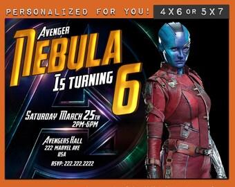 Nebula invitation,custom printable Marvel Infinity War invitation,Endgame personalized printables invitations for kids birthday party